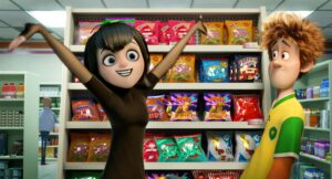 Mavis (Selena Gomez) and Jonathan (Andy Samberg) in Columbia Pictures and Sony Pictures Animation's HOTEL TRANSYLVANIA 2.