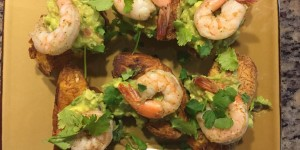 Bring the Caribbean to your home with Sofrito Shrimp Guacamole with Tostones Cups.