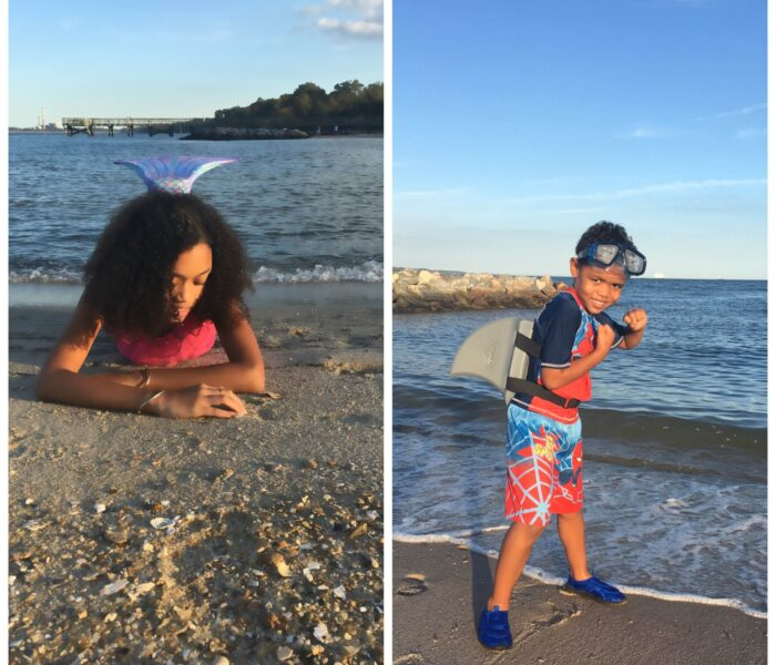 Move your child's imagination by becoming a Mermaid or a Shark with SunTails! #Mermaid #sharkfin #suntails